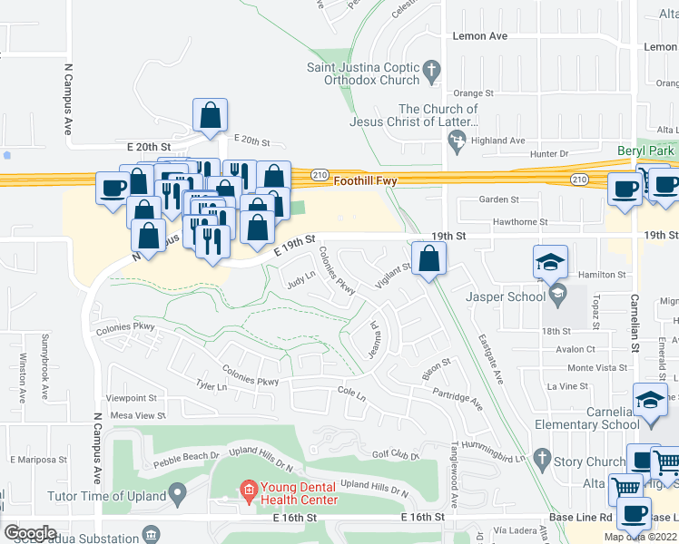 map of restaurants, bars, coffee shops, grocery stores, and more near 1871 Ambrosia Avenue in Upland