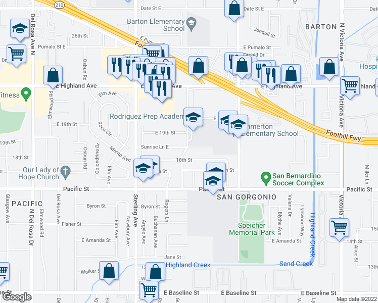 map of restaurants, bars, coffee shops, grocery stores, and more near 2205 Sunrise Lane East in San Bernardino