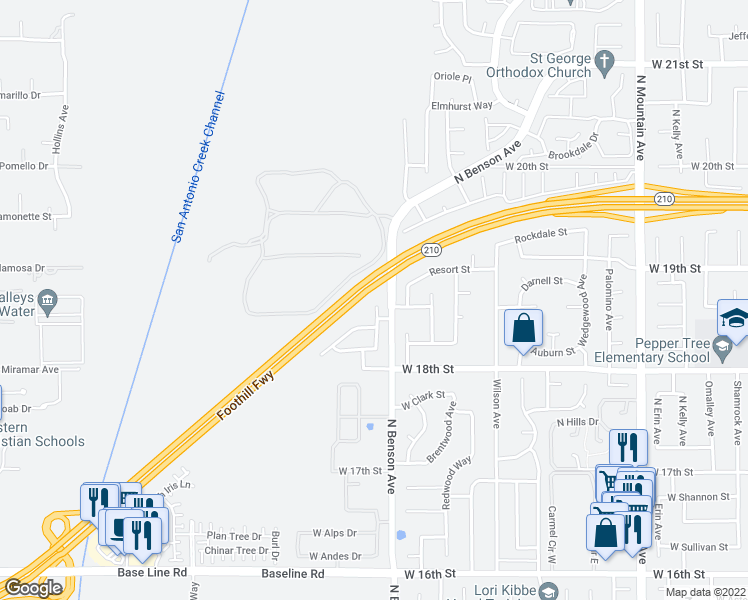 map of restaurants, bars, coffee shops, grocery stores, and more near 1861 Millsweet Drive North in Upland