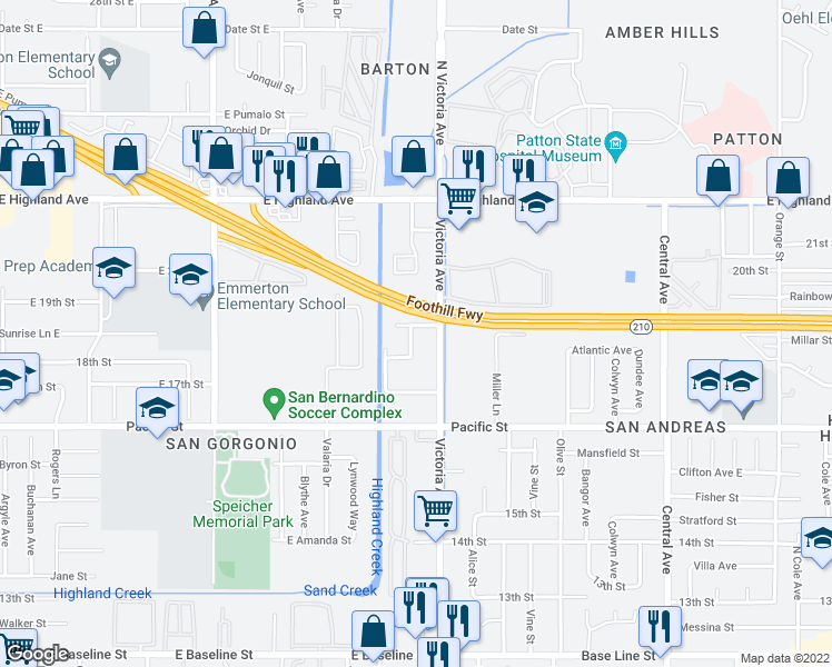 map of restaurants, bars, coffee shops, grocery stores, and more near 6725 Los Feliz Drive in Highland