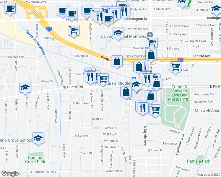 map of restaurants, bars, coffee shops, grocery stores, and more near 340 West Duarte Road in Monrovia