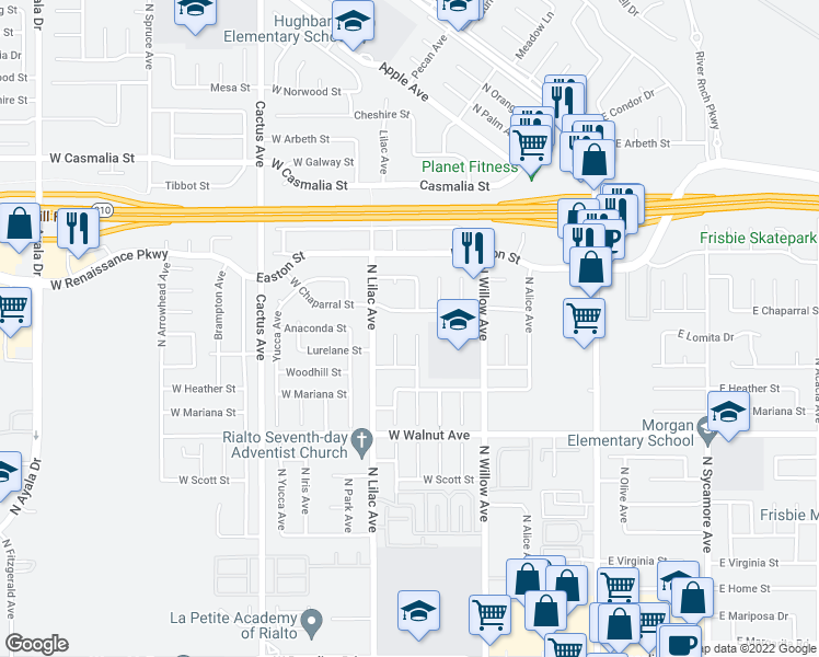 map of restaurants, bars, coffee shops, grocery stores, and more near 1780 North Vista Avenue in Rialto