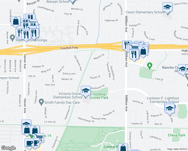 map of restaurants, bars, coffee shops, grocery stores, and more near 6599 Hartford Court in Rancho Cucamonga