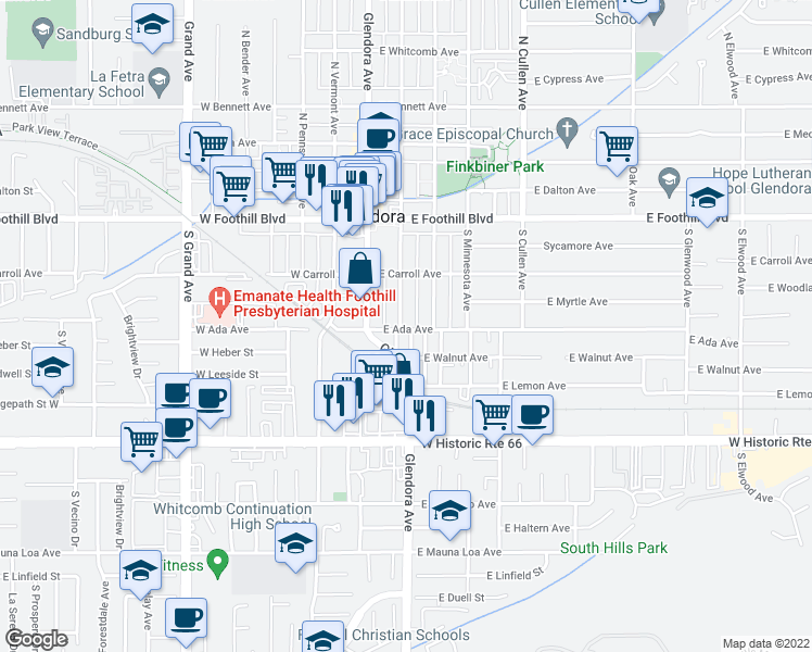 map of restaurants, bars, coffee shops, grocery stores, and more near 256 South Vista Bonita Avenue in Glendora