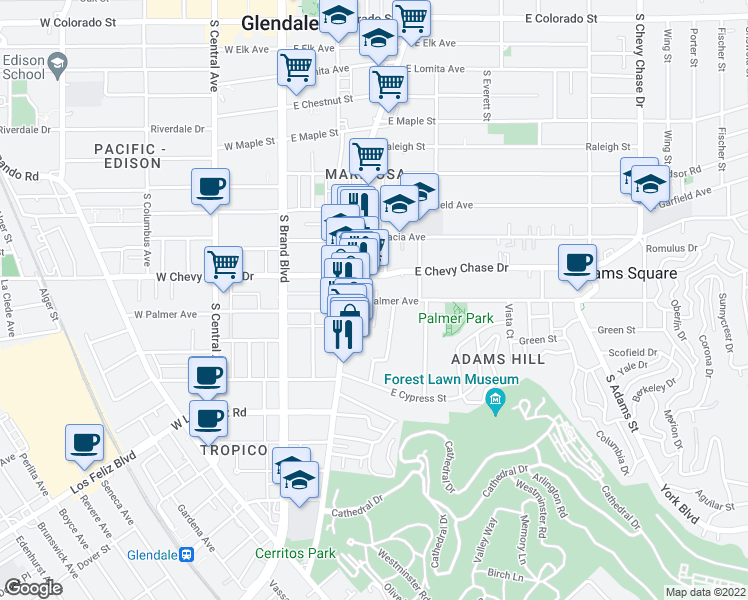 map of restaurants, bars, coffee shops, grocery stores, and more near 406 East Palmer Avenue in Glendale