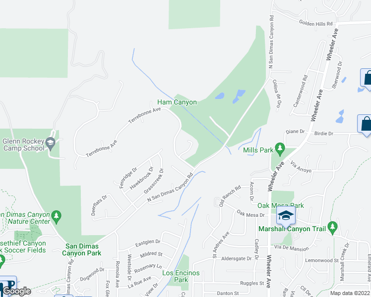 map of restaurants, bars, coffee shops, grocery stores, and more near 2027 Whitebluff Drive in San Dimas