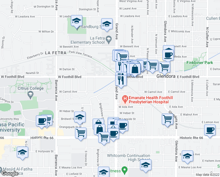 map of restaurants, bars, coffee shops, grocery stores, and more near 164 Calder Drive in Glendora