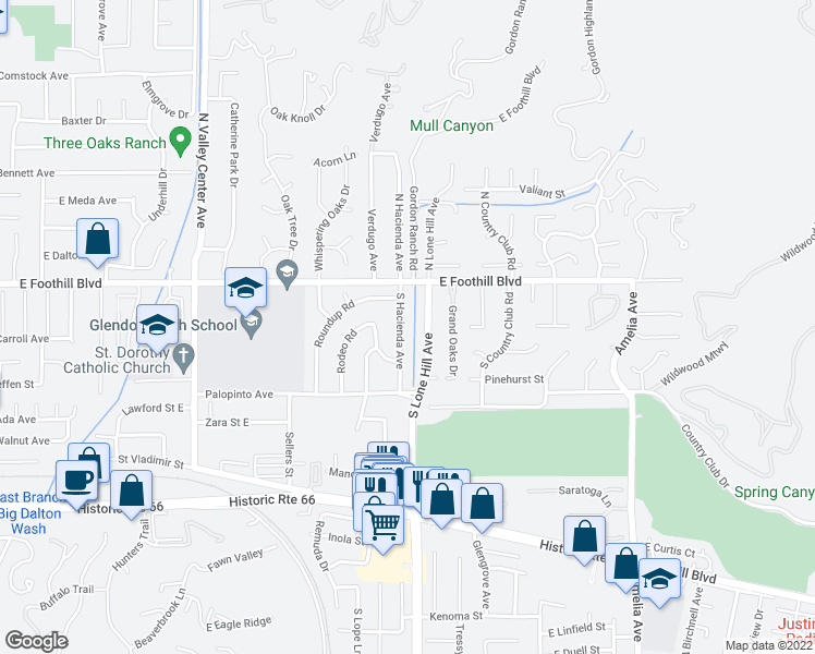 map of restaurants, bars, coffee shops, grocery stores, and more near 146 South Hacienda Avenue in Glendora