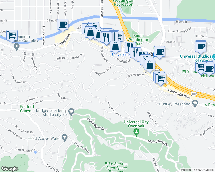 map of restaurants, bars, coffee shops, grocery stores, and more near 10940 Terryview Drive in Los Angeles