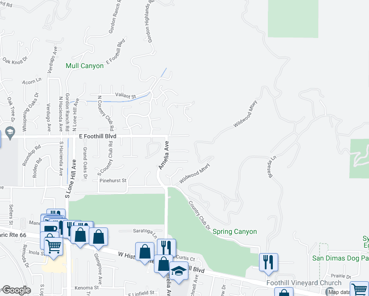 map of restaurants, bars, coffee shops, grocery stores, and more near 2339 Club Vista Drive in Glendora