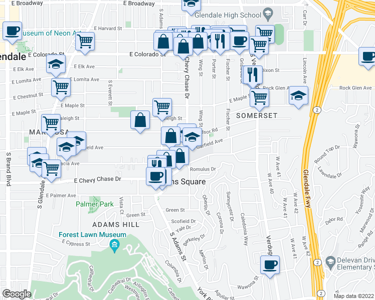 map of restaurants, bars, coffee shops, grocery stores, and more near 912 South Chevy Chase Drive in Glendale