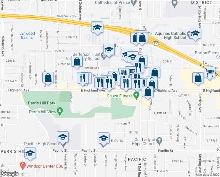 map of restaurants, bars, coffee shops, grocery stores, and more near 1411 East Highland Avenue in San Bernardino