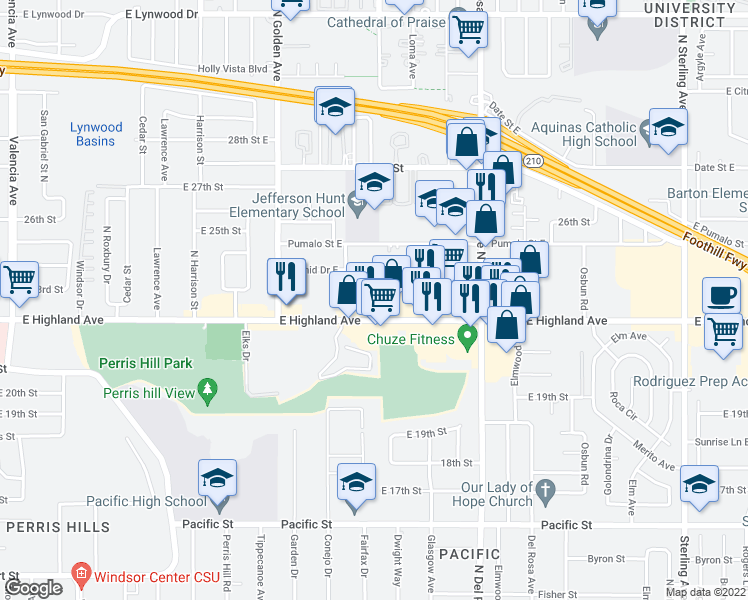 map of restaurants, bars, coffee shops, grocery stores, and more near Mountain Avenue in San Bernardino