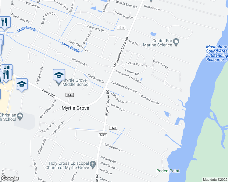 map of restaurants, bars, coffee shops, grocery stores, and more near 5103 Marina Club Drive in Wilmington