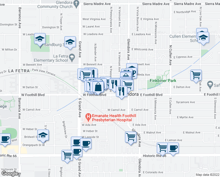 map of restaurants, bars, coffee shops, grocery stores, and more near 123 North Pennsylvania Avenue in Glendora