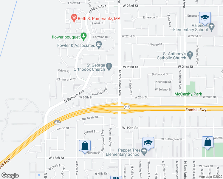 map of restaurants, bars, coffee shops, grocery stores, and more near 1240 Creekside Court in Upland