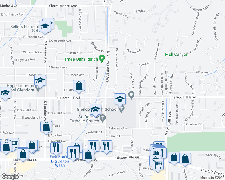 map of restaurants, bars, coffee shops, grocery stores, and more near 127 Catherine Park Drive in Glendora