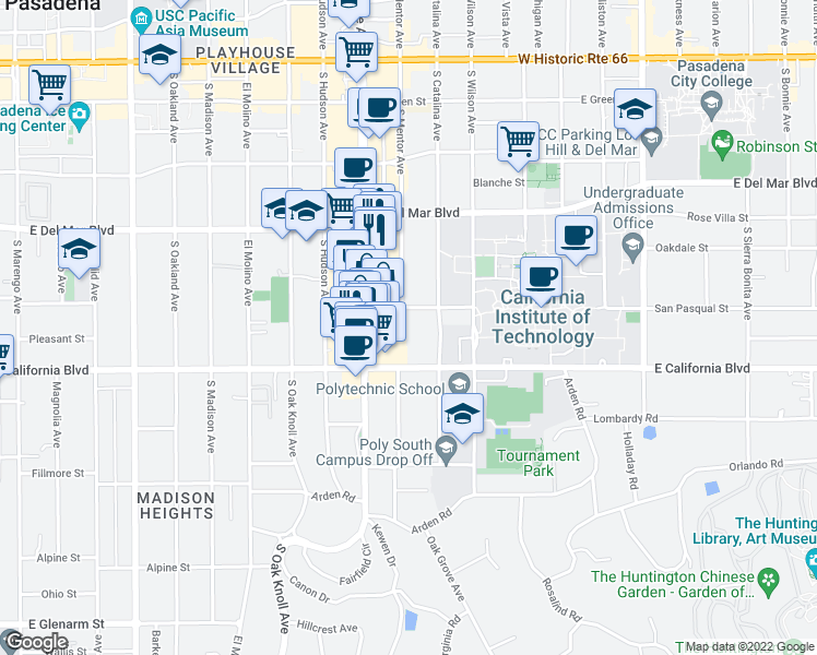 map of restaurants, bars, coffee shops, grocery stores, and more near 960 San Pasqual Street in Pasadena