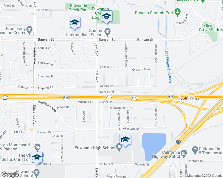 map of restaurants, bars, coffee shops, grocery stores, and more near 13475 Copley Drive in Rancho Cucamonga