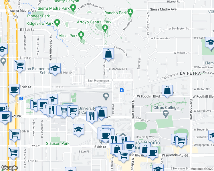 map of restaurants, bars, coffee shops, grocery stores, and more near 825 Cassia Lane in Azusa