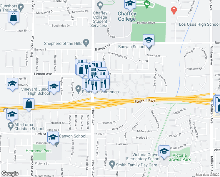 map of restaurants, bars, coffee shops, grocery stores, and more near 10655 Lemon Avenue in Rancho Cucamonga
