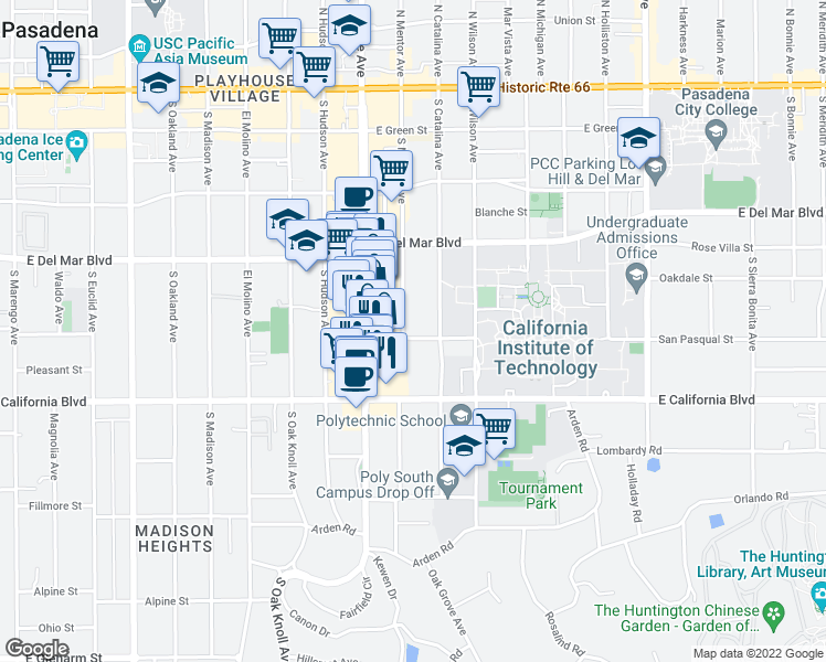 map of restaurants, bars, coffee shops, grocery stores, and more near 975 San Pasqual Street in Pasadena