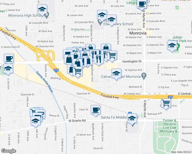 map of restaurants, bars, coffee shops, grocery stores, and more near 1230 Mayflower Avenue in Monrovia