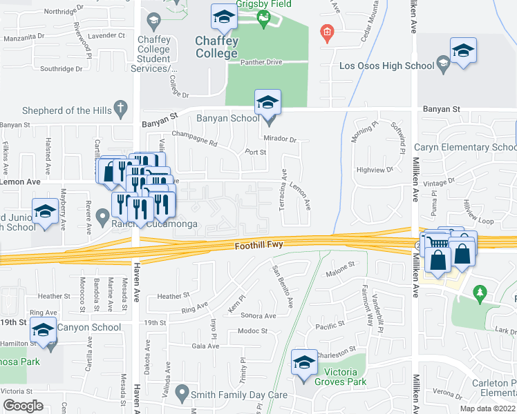 map of restaurants, bars, coffee shops, grocery stores, and more near 10801 Lemon Avenue in Rancho Cucamonga
