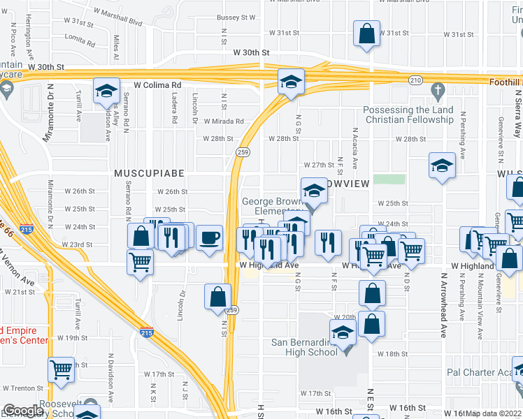 map of restaurants, bars, coffee shops, grocery stores, and more near West 25th Street in San Bernardino