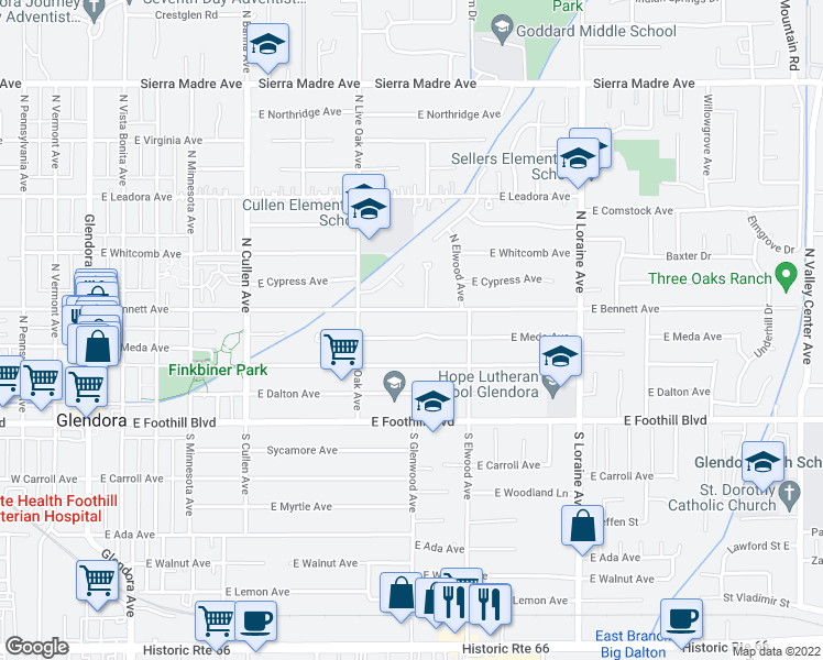 map of restaurants, bars, coffee shops, grocery stores, and more near 759 East Meda Avenue in Glendora