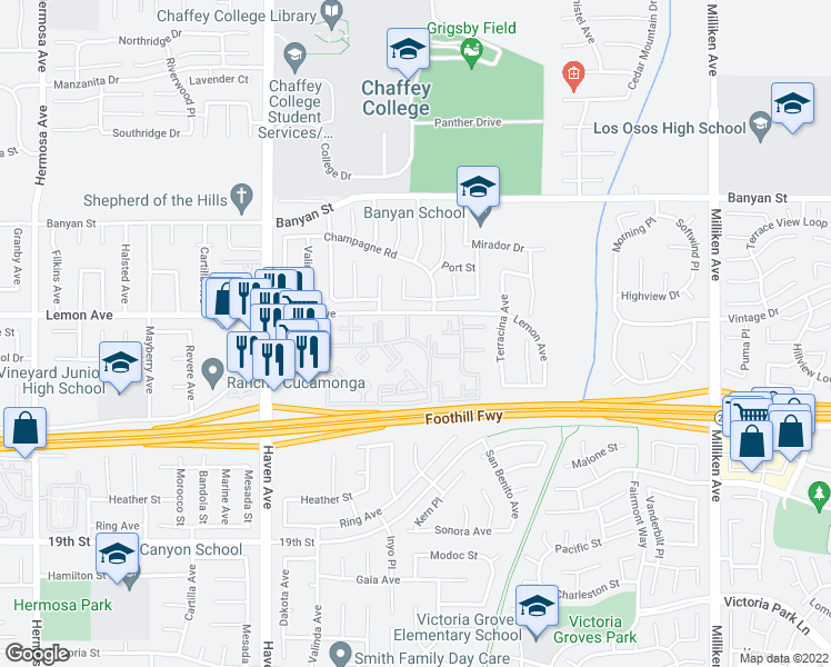 map of restaurants, bars, coffee shops, grocery stores, and more near 10757 Lemon Avenue in Rancho Cucamonga
