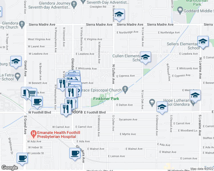 map of restaurants, bars, coffee shops, grocery stores, and more near 432 East Bennett Avenue in Glendora