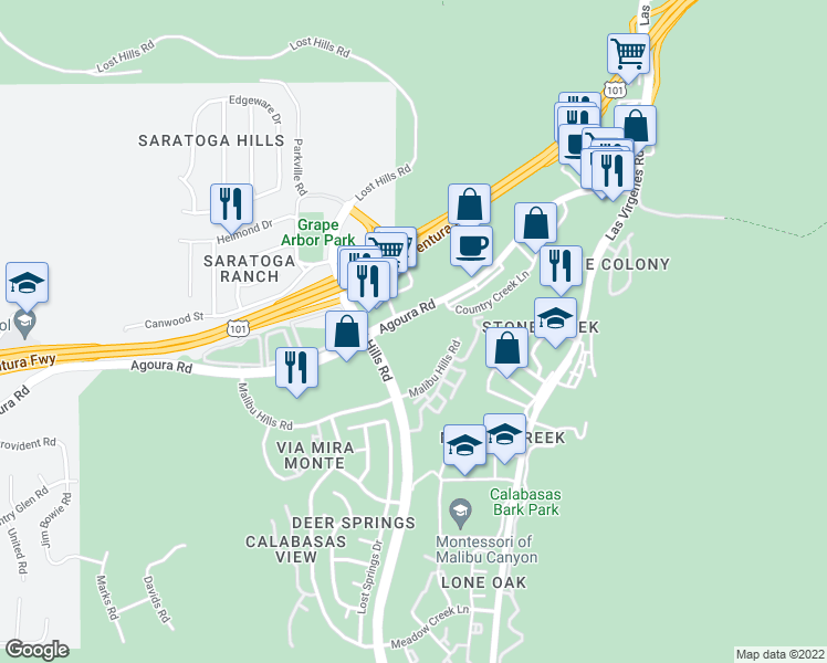 map of restaurants, bars, coffee shops, grocery stores, and more near 26750 Agoura Road in Calabasas