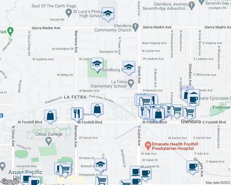 map of restaurants, bars, coffee shops, grocery stores, and more near 630 West Bennett Avenue in Glendora