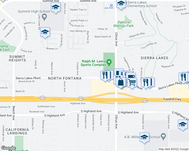 map of restaurants, bars, coffee shops, grocery stores, and more near 15937 Turtle Bay Place in Fontana