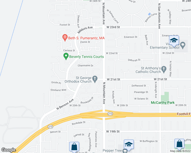 map of restaurants, bars, coffee shops, grocery stores, and more near 1246 Miller Court in Upland