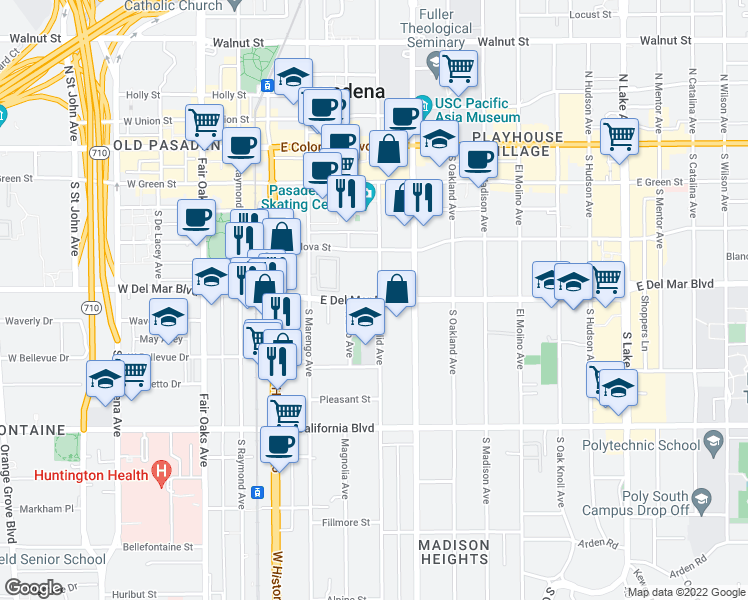 map of restaurants, bars, coffee shops, grocery stores, and more near 349 South Euclid Avenue in Pasadena