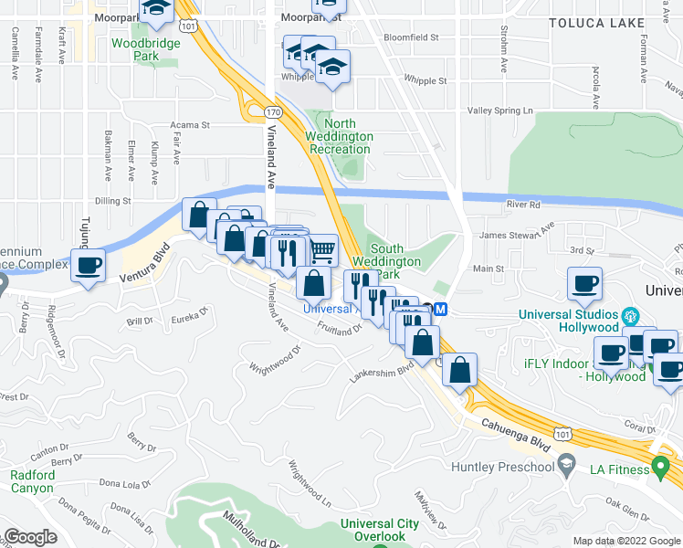 map of restaurants, bars, coffee shops, grocery stores, and more near Campo De Cahuenga in Los Angeles