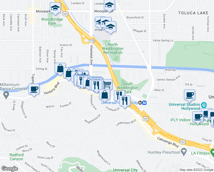 map of restaurants, bars, coffee shops, grocery stores, and more near 10925 Bluffside Drive in Los Angeles