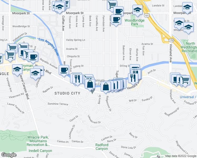 map of restaurants, bars, coffee shops, grocery stores, and more near 4054 Camellia Avenue in Los Angeles