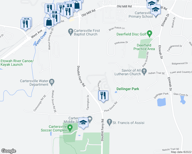 map of restaurants, bars, coffee shops, grocery stores, and more near 54 Lake Haven Drive in Cartersville