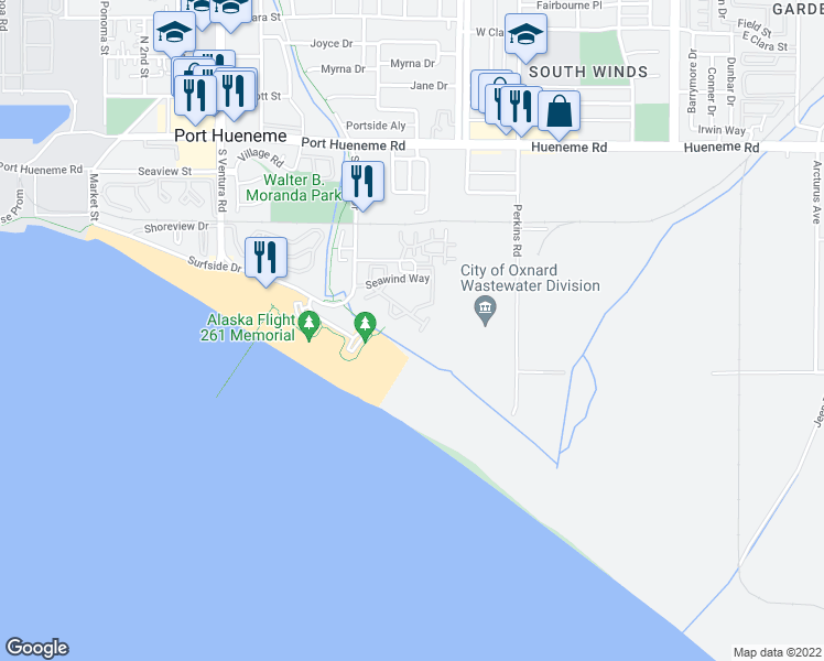map of restaurants, bars, coffee shops, grocery stores, and more near 838 Bluewater Way in Port Hueneme