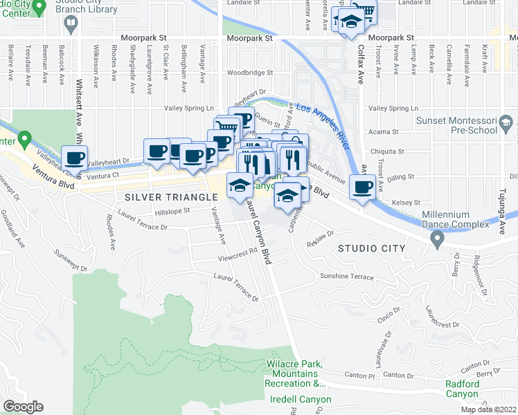 map of restaurants, bars, coffee shops, grocery stores, and more near 3930 Laurel Canyon Boulevard in Los Angeles