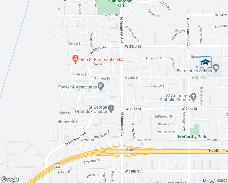 map of restaurants, bars, coffee shops, grocery stores, and more near 2152 Charmaine Drive in Upland