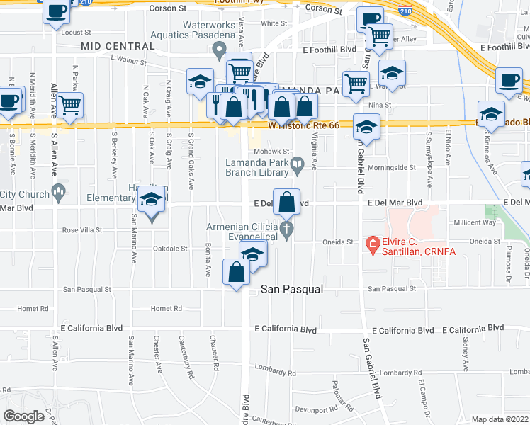map of restaurants, bars, coffee shops, grocery stores, and more near 2428 East Del Mar Boulevard in Pasadena