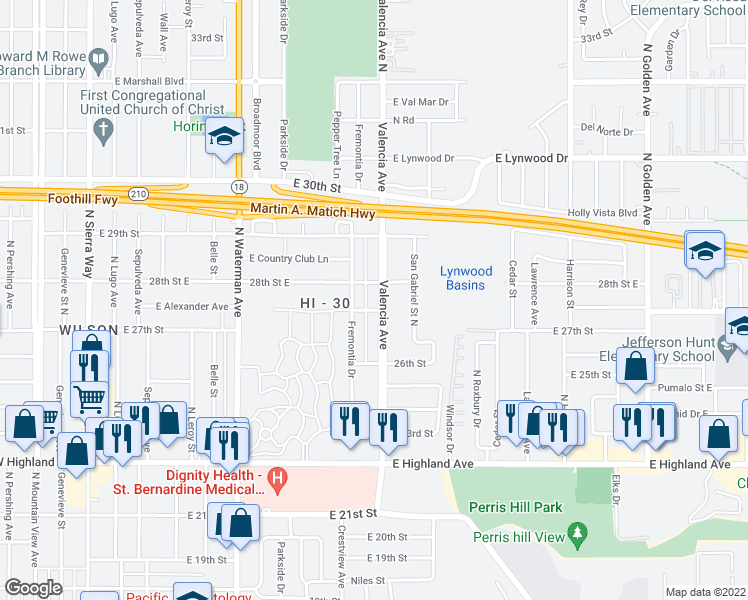 map of restaurants, bars, coffee shops, grocery stores, and more near 2764 Valencia Avenue in San Bernardino
