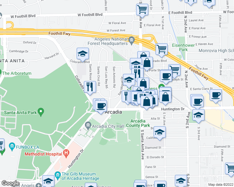 map of restaurants, bars, coffee shops, grocery stores, and more near 135 San Miguel Drive in Arcadia