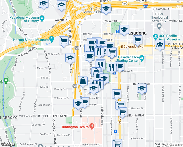 map of restaurants, bars, coffee shops, grocery stores, and more near 242 South De Lacey Avenue in Pasadena