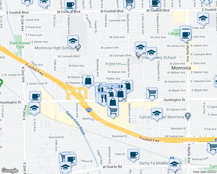 map of restaurants, bars, coffee shops, grocery stores, and more near 619 West King Street in Monrovia
