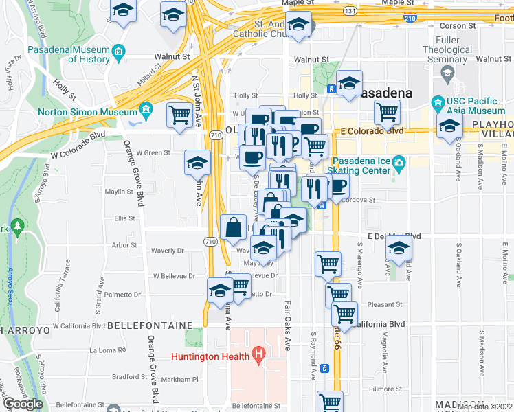 map of restaurants, bars, coffee shops, grocery stores, and more near 231 South De Lacey Avenue in Pasadena
